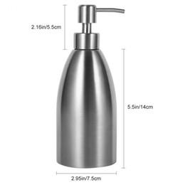 Pia de banheiro de aço inoxidável on-line-500 ml de Aço Inoxidável Dispensador de Sabão Torneira Da Pia Da Cozinha Casa De Banho Shampoo Recipiente Soap Deck Montado Garrafa Detergente