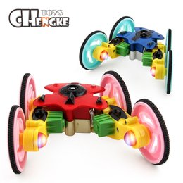 Wholesale Motor Lead - New 2.4G Mini 360 Degree Spinning Stunt Car And Flips With Color LED Light Rotation Remote Control Robot RC Car Toys