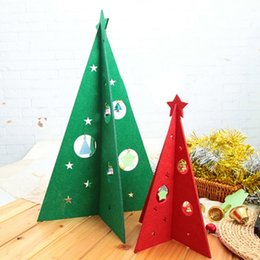 Wholesale green figurines - 2017 New 2 Colors Red Green Christmas Felting Christmas Tree Decorations Home New Year Receptions Paper Material Y6