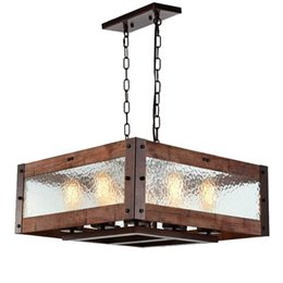 Wholesale Hotels Island - Rustic Kitchen Island Light, 8-Light Square Wood and Metal Pendant Lighting with Water Glass Panels Retro Industrial Chandeliers Adjustable