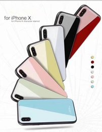 Wholesale Colorful Phones - For Iphone X 8 Plus Newest Glass Cases Colorful Mobile Phone Case Back Cover For iPhone 6 7 8 Plus X For Galaxy Note8 S8 Plus