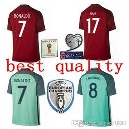 Wholesale Soccer Jersey Portugal - 16 17 Best quality Soccer jersey 2016 2017 RONALDO NANI QUARESMA PEPE GUERREIRO Euro Cup Portugal Football Shirts