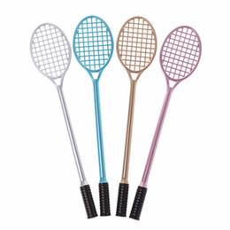 Бадминтон подарки онлайн-2018 1Pc 0.38mm Creative Badminton Rackets Shape Gel Ink Pen Decoration Stationery Office & School Pens Student Gift