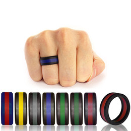 gold silver mix design ring Coupons - Luxury women's Two Tone Silicone Rings Three layers Tire Design Silicone Rubber Flexible Ring For Ladies Fashion Wedding Engagement Jewelry