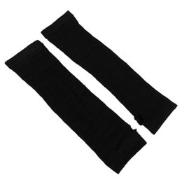 Wholesale Long Arm Gloves Ladies - SYB 2016 NEW Ladies Winter Stretchy Cuff Fingerless Black Knitted Long Gloves Arm Warmer Pair