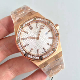 Wholesale rose ring watch - Luxury Watch Ladys 33MM Quartz Movement Diamonds Ring ROSE GOLD Stainless Steel Sapphire 15-400 womens watches free shipping