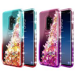 Caisses flottantes en Ligne-Pour Samsung Note 9 Cas De Luxe Paillettes Quicksand Liquide Flottant Circulant Étincelle Brillant Bling Diamant Clear Case Pour Samsung Galaxy Note 9 S9