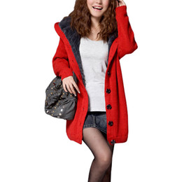 Wholesale Red Poncho Sweater - Korean women's jumper hat plus velvet thick wool coat female big yards poncho loose long cardigan sweater women vestidos LXJ052