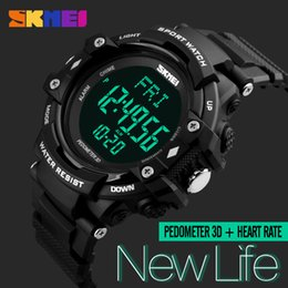 Wholesale Resin Counter - New fashion SKMEI LED Digital Wristwatches Pedometer Heart Rate Monitor Calories Counter Tracker Sports Watches