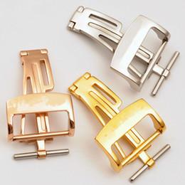 brazaletes zulú Rebajas Hebilla de cierre desplegable de acero plateado oro rosa de 18 mm para correa de cuero AP A P caucho