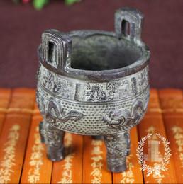Zeichnen von produkten online-Neue Produkte Angebote Antikes Kupfer Verschiedenes Messing Sammlung Räuchergefäß Geräucherte Herdohren Dreibeinige Vier Drachen Antiquitäten