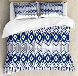 Wholesale art border designs - Ikat Duvet Cover Set, Asian Traditional Design Borders Tribal Art Geometrical Motifs and Shapes, 4 Piece Bedding Set