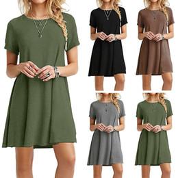 2018 caliente de la venta de manga corta vestido de talla grande para las mujeres Casual A-line falda vestido 6 colores desde fabricantes