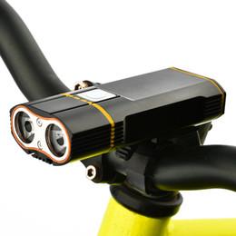 levou lâmpada de névoa cromada Desconto Farol de bicicleta de luz frontal XM-L2 LED luz de ciclismo embutida 18650 bateria recarregável + guiador montar + linha USB