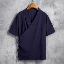 2019 ropa de lino puro Plus Size M-6XL Pure Color Tops 2018 Nuevo Cotton Linen Men Manga corta Kimono Linen Hanfu con Tie Clothing Blanco / Negro ropa de lino puro baratos