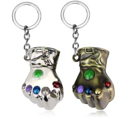 Wholesale Comics Women - Hot Comics The Infinity Gauntlet Thanos Keychain The Hulk 3D Fist Energy Gloves 6cm Alloy Gold Key Chain Ring Bag Charms Jewelry AA669