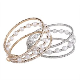 Wholesale Pearl Strands Wedding - Fashion Imitation Pearls Imitation Pearls Statement Boho Ethnic Multilayer Stretch Bangles Bracelets Wedding Jewelry For Women 2018 in stock