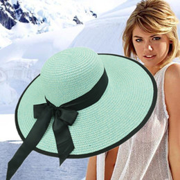 Wholesale Wide Brim Hats For Sale - Designer Ladies Elegant Bow Beach Hats Women Spring Summer Big Beach Straw Visors Lady Dress Church Foldable Bucket Wedding Dress For Sale