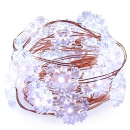 Wholesale Wholesale Snowflake Lights - New 2M 20 Leds SnowFlake Fairy String Copper Light Decoration String Lights For Party Home Wedding Garden Garland Christmas Tree