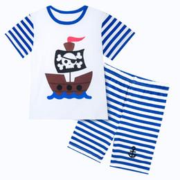 Kinder kurzarm pyjama online-Kinder Jungen Striped Pirate Kostüm Kinder Pyjamas Kind Pijama Pyjamas Kurzarm Nachtwäsche Sommer Für Jungen 2-7Y