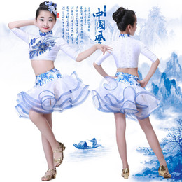 Wholesale Kids Dancing Outfits - Girls Latin dancing dress Kids Sequined Ballroom Modern Dance wear Outfits Children's Jazz Party Stage wear Chinese Folk Dance