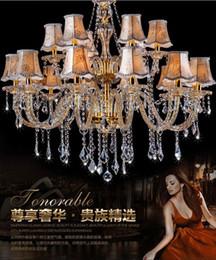 Wholesale Crystal Chandelier Lamp Shades - modern living room crystal chandelier lights fabric Cover chandeliers candle lighting crystal lamp shade chandelier modern light