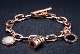 Wholesale 18k korean bracelet - Korean version of the Roman round pie shell rose gold bracelet fashion ladies titanium steel bracelet