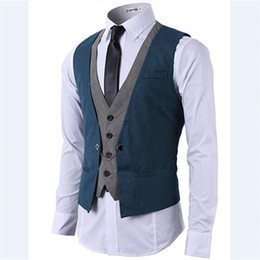 breast vest Promo Codes - 2018 wangyandress blue grey groom wear wedding vests custom v neck single breasted men vest european and american style groom vests