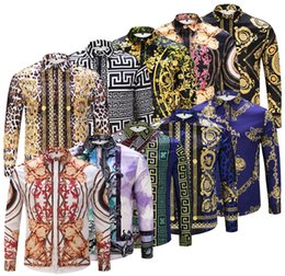 Wholesale Hand Paint Dress - wholesale 2018 Spring Autumn luxury designer Medusa Men printed Dress shirt Slim Fit cotton shirts for men black print casual Business tops