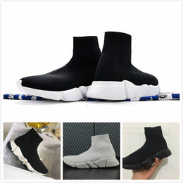 Wholesale Big Shoe Sizes For Women - Big Size high quality Speed sock high top Speed Trainer running shoes for men and women sports shoes Speed stretch-knit Mid Sneakers 36-47