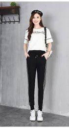 casual sport pants koreanisch Rabatt Beiläufige wilde Studentensporthosen der Hosen weibliche zwei Barharemhosen Koreanische Version der losen Hosen