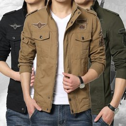 Wholesale Casual Cargo Jacket - Fashion Cargo Tops Men Military Army Jackets Stand Collar Outerwear Embroidery Mens Jacket M-6XL Large Size Available