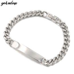 braccialetto in oro smeraldo Sconti GOKADIMA GOKADIMA 2016 nuovo stile fresco ID uomini braccialetto gioielli in acciaio inossidabile braccialetto Bangle catena partito regalo di Natale B034