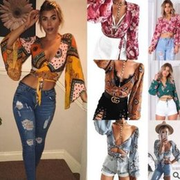 Wholesale Yellow Puff Sleeve Shirt - 2018 explosions women's T-shirt new spring summer sexy lace loose long sleeve print shirt tops Tees