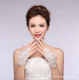 Wholesale G Finger Rings - Bride's wedding gown gloves big red sequins, photographed and photographed stage performance glove G