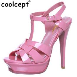 Coolcept бесплатная доставка качество натуральная кожа сандалии на высоком каблуке женщины сексуальная обувь мода леди обувь R4425 горячие продажи 33-40 от