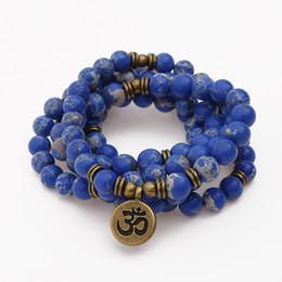 Mala colares atacado on-line-Moda Natural Azul Imperador Pedra Pulseira 108 Mala Beads Pulseira ou Colar OHM Pingente Chakra Yoga Oração Atacado