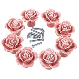 Wholesale flower cabinet pulls - Knobs, 8Pcs Elegant Pink Rose Pulls Flower Ceramic Cabinet Knobs Cupboard Drawer Pull Handles + Screw