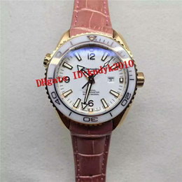white ceramic rose gold watches women 2018 - New Luxury Swiss 8520 Automatic Auto Date Movement Sapphire Crystal White Ceramic bezel Rose Gold Case Leather Strap Women Watch