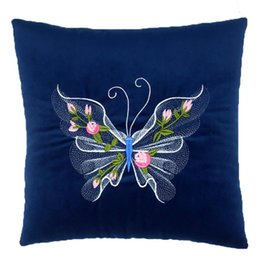 Wholesale Butterflies Bedding - 35*35cm Square Plush Filling Butterfly Printed Throw Pillow Seat Bed Cushion Home Decor Office Rest Throw Pillow Almofadas