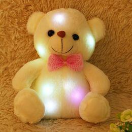большой белый медведь чучела животных Скидка 20см Прекрасные светодиодные Красочный светящийся Мини Teddy Bear Плюшевые игрушки Фаршированные Плюшевые игрушки СИД Красочный светящийся медведь