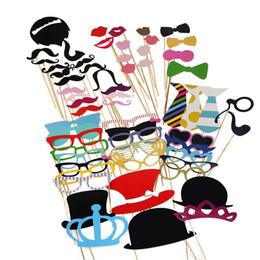 Wholesale wholesale face hat kids - Wholesales Funny 60pcs set Moustache Hats Photo Booth Props Paper Mask Party Decoration Masquerade Masks Kids Toys Christmas Event Decor