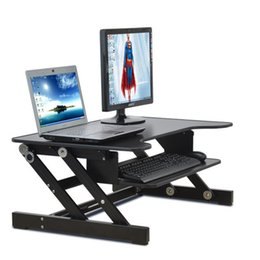 Wholesale Height Stand - E8 EasyUp Height Adjustable Sit Stand Desk Riser Foldable Laptop Desk Stand With Keyboard Tray Notebook Monitor Holder