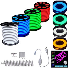 Wholesale Wholesale Led Neon Rope Lights - LED Strip Neon Flexible Rope Light Waterproof IP68 Mini LED Tape 220V 110V Flexible Ribbon For Outdoor Lighting With Power Plug