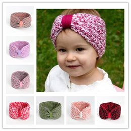 Wholesale baby knitted headbands - Infant Baby Girls Knit Headbands Toddler Knotted Crochet Hairbands Newborn Kids Girls Winter Hair accessories B11