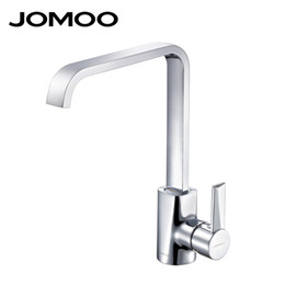torneira cozinha kitchen Promo Codes - JOMOO Solid Brass Polish Chrome Kitchen Faucet Mixer Single Handle Single Hole Cold and Hot Torneira cozinha Square Shape 3341