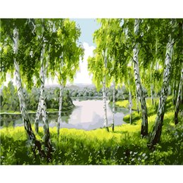 Wholesale acrylic painting landscape - Oil painting by numbers diy home decorative canvas picture acrylic painting coloring by numbers spring landscape adult
