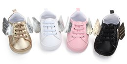 Wholesale baby booties white - Newborn Baby First Walkers Shoe Infant Toddler Pony Wing Toddler Boots Boy Girl Angel Wings Booties Shoes Prewalkers