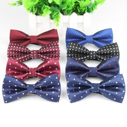 Wholesale Polka Dot Neckties - Men's Bow Tie High Quality Polka Dot Black Blue Red Bowtie Kid Children Smooth Necktie Soft Butterfly Wedding Prom Party Ties