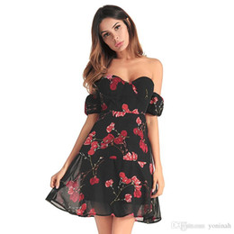 ed23c9bd514 Wholesale Free Shipping Summer backless strapless sexy short chiffon rose  flower printed women clothing off shoulder party dress size S-XXL